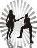 Ragazze con le chitarre Fotografie Stock Libere da Diritti