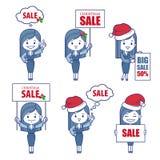 Ragazze dei caratteri di affari per l'insegna di vendita di festa Fotografia Stock