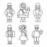Ragazze dei pantaloni a vita bassa con gli smartphones Insieme dell'icona del profilo Illustrazione di vettore royalty illustrazione gratis