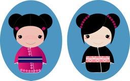 Ragazze del kimono Fotografie Stock Libere da Diritti