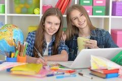 Ragazze dello studente a classe con il computer portatile Immagini Stock