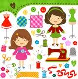 Ragazze di cucito royalty illustrazione gratis