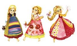 Ragazze di dancing, illustrazione dell'acquerello Immagini Stock Libere da Diritti