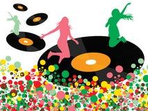 Ragazze felici di schiocco della discoteca del vinile Immagine Stock