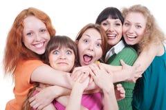 Ragazze felici sopra priorità bassa bianca Fotografia Stock Libera da Diritti