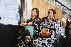 Ragazze in kimono Fotografia Stock