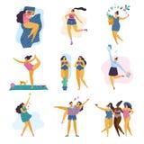 Ragazze più felici di dimensione con lo stile di vita sano nella posa differente: sonno, sport, sanità, yoga, lavoro, amore e par illustrazione di stock