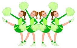 Ragazze pon pon nel verde - illustrazione vectorial Fotografia Stock Libera da Diritti