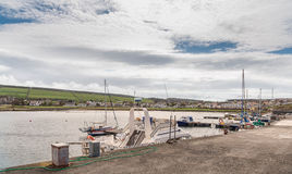 Ragazze porto e villaggio vicino a Girvan Scozia Fotografie Stock