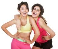 Ragazze ridenti scioccamente di allenamento Fotografie Stock