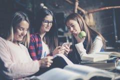 Ragazze sorridenti degli studenti nel compito di lavoro delle biblioteche Immagini Stock Libere da Diritti