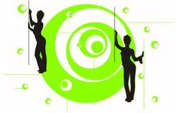 Ragazze sul cerchio verde Immagine Stock