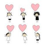 Ragazze sveglie con i cuori del biglietto di S. Valentino per il vostro disegno Fotografia Stock Libera da Diritti