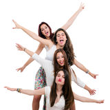Ragazze teenager divertendosi nello studio Fotografie Stock