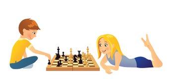 Ragazzi che giocano scacchi royalty illustrazione gratis
