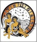 Ragazzi dei gemelli ed il segno dello zodiaco. Cerchio dell'oroscopo. I Immagine Stock