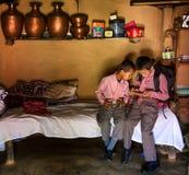 Ragazzi di scuola Nepal Immagini Stock