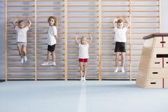 Ragazzi di scuola sulle barre di parete fotografie stock libere da diritti