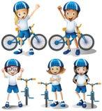Ragazzi e ragazze che guidano bicicletta illustrazione di stock