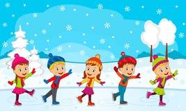 Ragazzi e ragazze che pattinano sui precedenti di inverno illustrazione di stock
