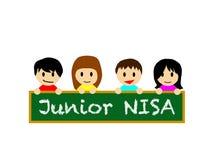 Ragazzi e ragazze felici sorridenti che tengono il bordo nero su cui NISA è scritto Immagine Stock Libera da Diritti