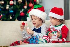 Ragazzi felici che giocano con l'albero di Natale nei precedenti fotografia stock libera da diritti