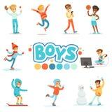 Ragazzi felici ed il loro comportamento normale previsto con i giochi attivi e le pratiche di sport fissate del ruolo maschio tra illustrazione vettoriale
