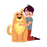Ragazzino, bambino, bambino con il grande amico marrone lanuginoso del cane, compagno royalty illustrazione gratis