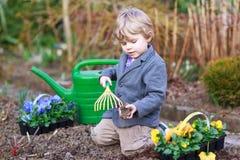 Ragazzino che fa il giardinaggio e che pianta i fiori in giardino Immagini Stock