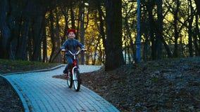 Ragazzino che guida la bicicletta nel parco, parco del tramonto, movimento lento archivi video