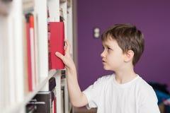 Ragazzino che seleziona libro a partire dalla biblioteca Fotografie Stock