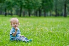 Ragazzino che si siede sull'erba Fotografia Stock