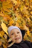 Ragazzino che si trova sui fogli di autunno Fotografia Stock Libera da Diritti