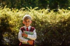 Ragazzino che va indietro al banco Bambino con lo zaino ed i libri sul primo giorno di scuola Fotografia Stock Libera da Diritti