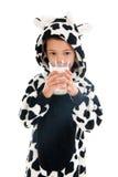 Ragazzino come latte alimentare della mucca Fotografie Stock