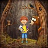 Ragazzino con gli animali nel legno illustrazione vettoriale