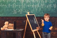 Ragazzino con la condizione abila del fronte davanti al bordo verde Allievo che indica alla lavagna Bambino che impara aritmetica fotografie stock libere da diritti