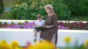 Ragazzino con la nonna che guarda un libro con le immagini nel parco video d archivio