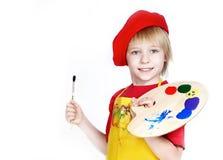 Ragazzino con la spazzola e la gamma di colori dell'artista Fotografia Stock Libera da Diritti