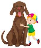 Ragazzino e grande cane royalty illustrazione gratis
