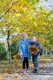 Ragazzino e ragazza che raccolgono i fogli di autunno Fotografie Stock
