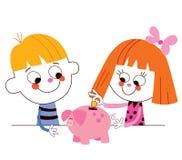 Ragazzino e ragazza con il risparmio dei bambini del porcellino salvadanaio Immagini Stock