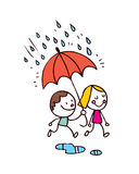 Ragazzino e ragazza nella pioggia Fotografie Stock