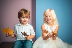 Ragazzino e ragazza in vestiti stagionali con la foglia dorata Piccoli bambini felici che giocano con le foglie e che esaminano immagine stock