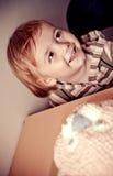 Ragazzino e torta di compleanno Fotografia Stock Libera da Diritti