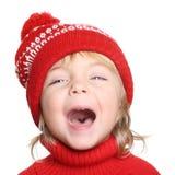 Ragazzino felice in cappello e maglione rossi Fotografia Stock