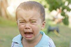 Ragazzino gridante gridi Ritratto del ragazzo Il bambino caucasico esamina la macchina fotografica Il ragazzo incantante il bambi fotografie stock
