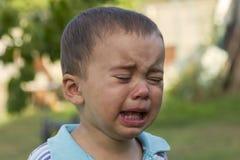 Ragazzino gridante gridi Ritratto del ragazzo Il bambino caucasico esamina la macchina fotografica Il ragazzo incantante il bambi immagini stock