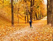Ragazzino sul motorino nel parco della città di autunno, spazio della copia immagini stock libere da diritti