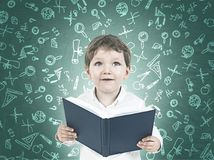 Ragazzino sveglio con un libro, scuola materna Fotografia Stock Libera da Diritti